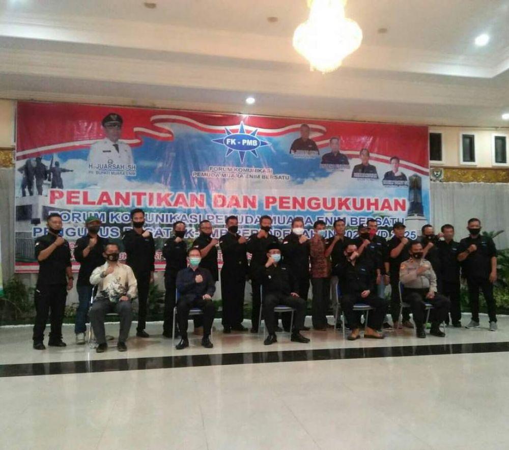 BERSAMA : bersama Plt Bupati Muara Enim H. Juarsah SH bersama Pengurus & Anggota FK-PMB. (foto : danu/advokasi.co)